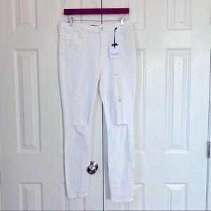 NANETTE LEOPORE new white denim slash knee jeans 6